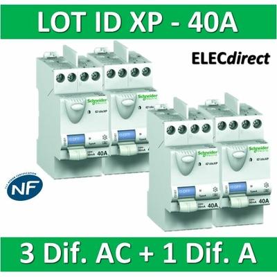 SCHNEIDER - LOT de 4 inter différentiels XP - (3 - ID 2x40A 30mA AC/1 - ID 2x40A 30mA A) 23160x3 + 23158