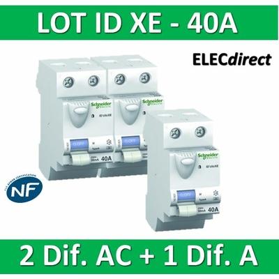 SCHNEIDER - LOT de 3 inter différentiels XE - (2 - ID 2x40A 30mA AC/1 - ID 2x40A 30mA A) 16160x2 + 16158