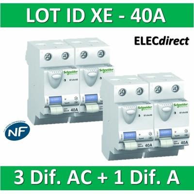 SCHNEIDER - LOT de 4 inter différentiels XE - (3 - ID 2x40A 30mA AC/1 - ID 2x40A 30mA A) 16160x3 + 16158