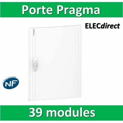 Schneider - Porte opaque blanche coffret PRAGMA IP40/IK09 - 3 rangées de 13 modules - 39M - PRA16313