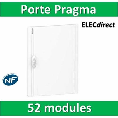 Schneider - Porte opaque blanche coffret PRAGMA IP40/IK09 - 4 rangées de 13 modules - 52M - PRA16413