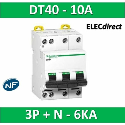 Schneider DT40 - Disjoncteur 3P+N - 10A - 6kA - courbe C - A9N21064