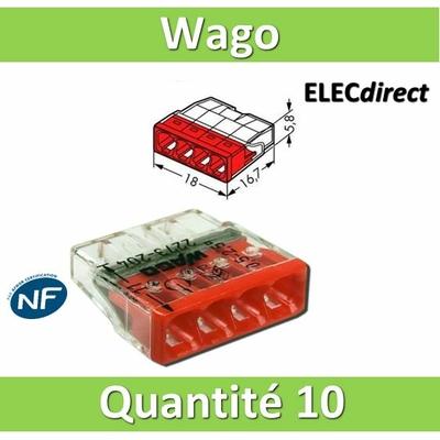 WAGO - Boîte de 10 Bornes auto fils rigide 4 x 2,5mm2 - WAG 2273-204
