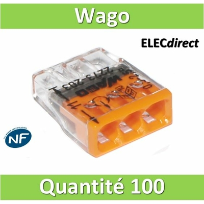WAGO - Boîte de 100 Bornes auto fils rigide 3 x 2,5mm2 - WAG 2273-203