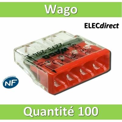 WAGO - Boîte de 100 Bornes auto fils rigide 4 x 2,5mm2 - WAG 2273-204