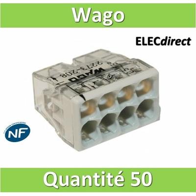 WAGO - Boîte de 50 Bornes auto fils rigide 8 x 2,5mm2 - WAG 2273-208