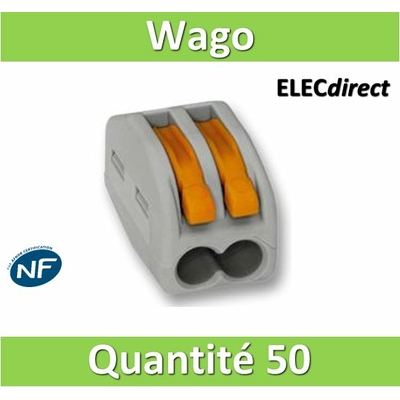 WAGO - Boîte de 50 Bornes auto fils Souple / Rigide 2 x (0.08 à 4mm2) - WAG 222-412