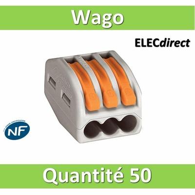 WAGO - Boîte de 50 Bornes auto fils Souple / Rigide 3 x (0.08 à 4mm2) - WAG 222-413