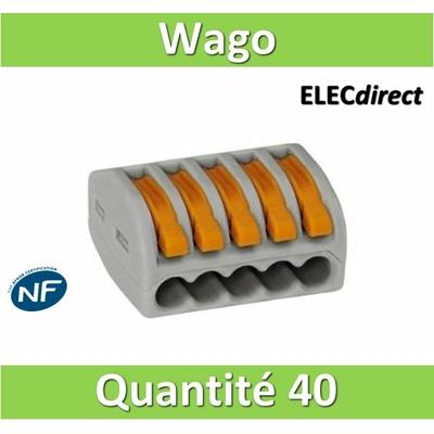 WAGO - Boîte de 40 Bornes auto fils Souple / Rigide 5 x (0.08 à 4mm2) - WAG 222-415
