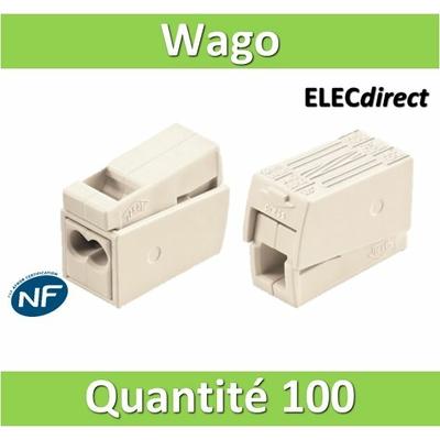 WAGO - Boîte de 100 Bornes auto pour luminaires 2 conducteurs fils R / 1 conducteur fils R - S (0.5 à 2.5 mm2) WAG 224-112