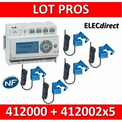 Legrand - ECOcompteur RT2012 - 5 entrées 230V MONO - 6M + 5 Tores - 412000 + 412002x5