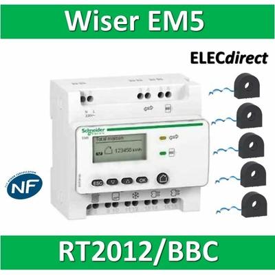 Schneider - Compteur RT2012 - 5 entrées 230V MONO - Wiser - EM5 + 5 tores - EER39000