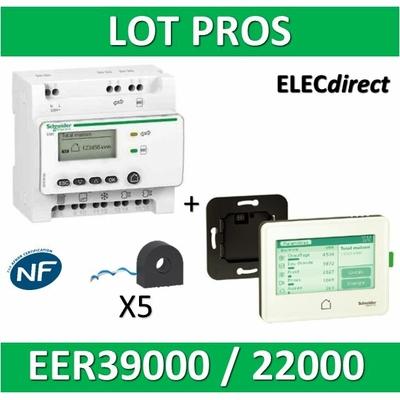 Schneider - Compteur RT2012 - 5 entrées 230V + 5 tores + Afficheur - Wiser - EER39000 + EER22000