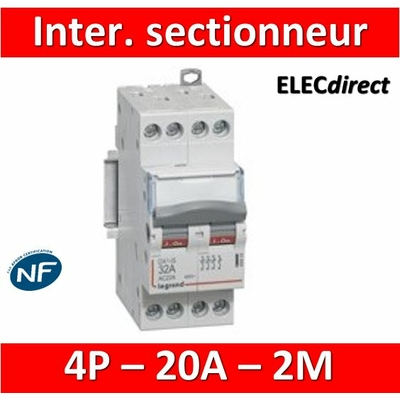 Legrand - DX3 Interrupteur-sectionneur tétrapolaire 20A - 2 modules - 406477