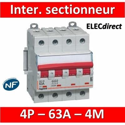 Legrand - DX3 Interrupteur-sectionneur à déclenchement Tétrapolaire - 63A - 406544