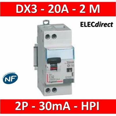 LEGRAND - Disjoncteur Différentiel 2P - 20A - 30ma Type HPI - 410754
