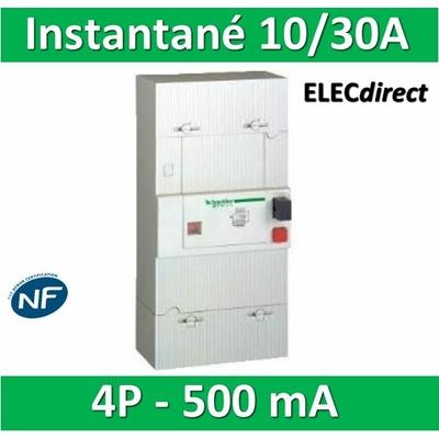 Schneider - Disjoncteur de branchement EDF 10/30A instantané - 500mA - tétrapolaire - 13102