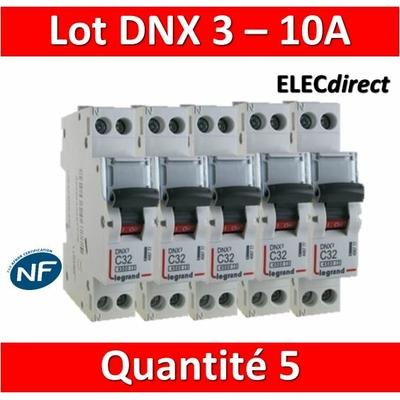 LEGRAND - LOT DE 5 DISJONCTEURS DNX3 10A - VIS/VIS - 406773
