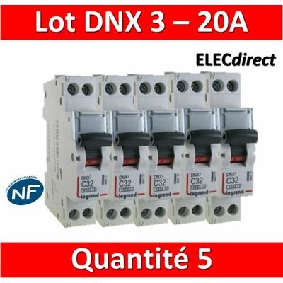 LEGRAND - LOT DE 5 DISJONCTEURS DNX3 20A - VIS/VIS - 406775