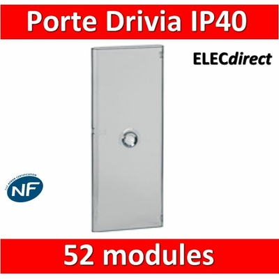 Legrand - Porte Drivia transparente 52 modules IP40 - IK07 pour coffret 401214 - 401344
