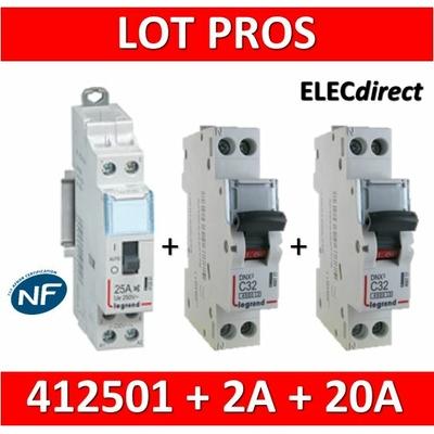 Legrand - LOT PROS - Contacteur CX3 J/N heures creuses + disjoncteur 2A DNX3 + disjoncteur 20A DNX3 - 412501+406771+406775