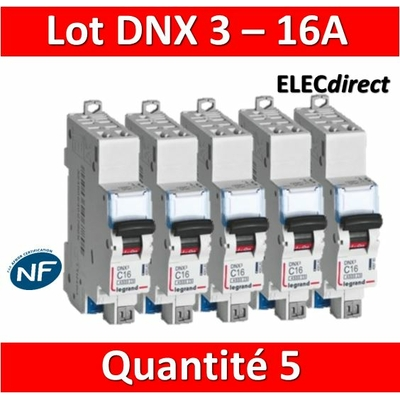 LEGRAND - LOT DE 5 DISJONCTEURS AUTO DNX3 16A - 406783