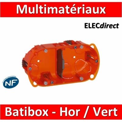 Legrand Batibox - Boîte multimatériaux 2 postes - 4/5M - Hor/Ver - profondeur 40 mm  - 080102