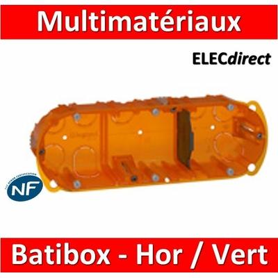 Legrand Batibox - Boîte multimatériaux 3 postes - 6/8M - Hor/Ver - profondeur 40 mm  - 080103