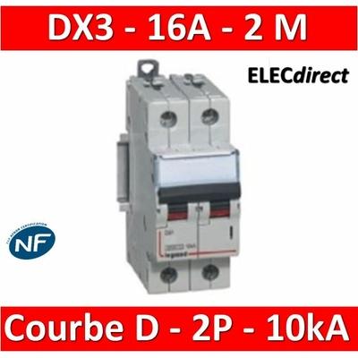 Legrand - Disjoncteur bipolaire DX3 16A - 10kA - courbe D - 408015