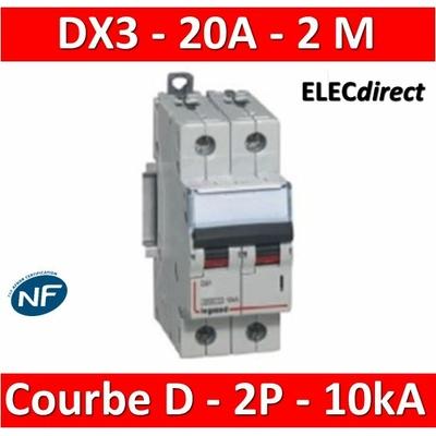Legrand - Disjoncteur bipolaire DX3  20A - 10kA - courbe D - 408016