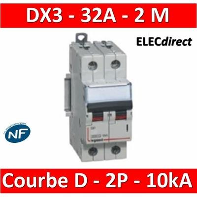 Legrand - Disjoncteur bipolaire DX3  32A - 10kA - courbe D - 408018