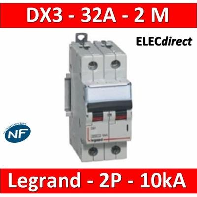 Legrand - Disjoncteur bipolaire DX3  32A - 10kA - courbe C - 407787