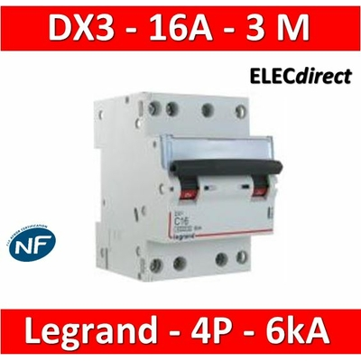 Legrand - Disjoncteur 4P DX3 - 16A - 6kA - courbe C - 406910