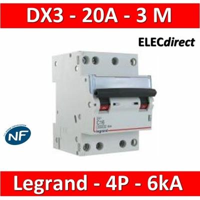 Legrand - Disjoncteur 4P DX3 - 20A - 6kA - courbe C - 406911