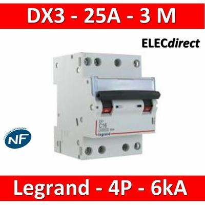 Legrand - Disjoncteur 4P DX3 - 25A - 6kA - courbe C - 406912