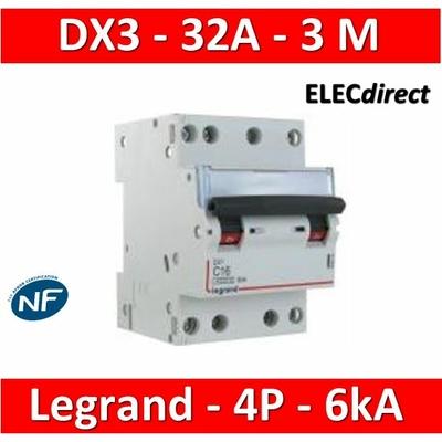 Legrand - Disjoncteur 4P DX3 - 32A - 6kA - courbe C - 406913