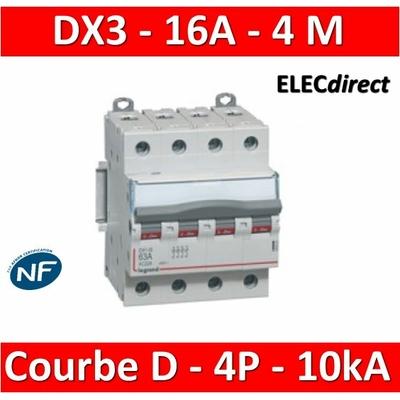 Legrand - Disjoncteur 4P DX3 16A - 10kA - courbe D - 408117