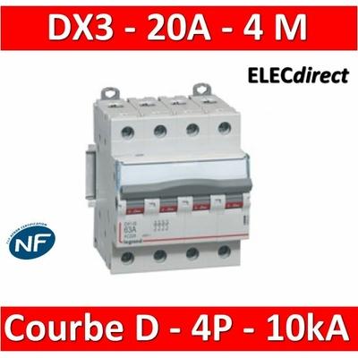 Legrand - Disjoncteur 4P DX3  20A - 10kA - courbe D - 408118