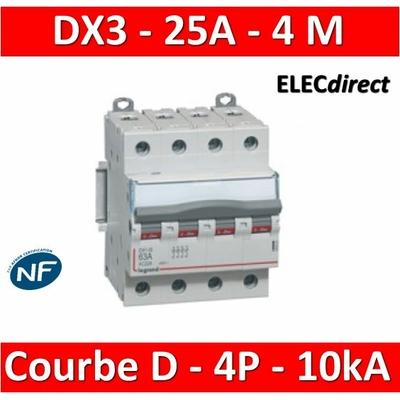 Legrand - Disjoncteur 4P DX3  25A - 10kA - courbe D - 408119