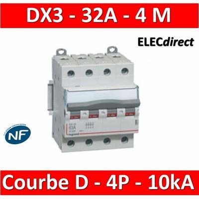 Legrand - Disjoncteur 4P DX3 32A - 10kA - courbe D - 408120