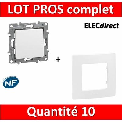 Legrand Niloé - LOT PROS - Va et Vient 10A Blanc complet + plaque - Blanc - 664701x10 + 665001x10