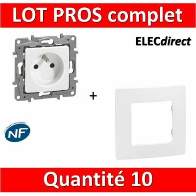 Legrand Niloé - LOT PROS - Prise de courant 2P+T 16A complet + plaque - Blanc - 664735x10 + 665001x10