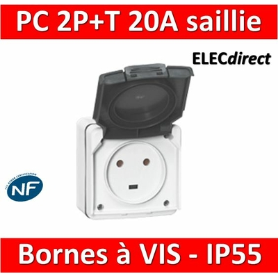 Legrand Plexo - Prise de courant 2P+T 20A - saillie - IP55/IK08 - 091655