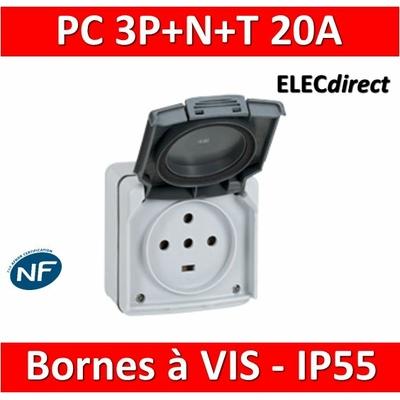 Legrand Plexo - Prise de courant 3P+N+T 20A - saillie - IP55/IK08 - 091657