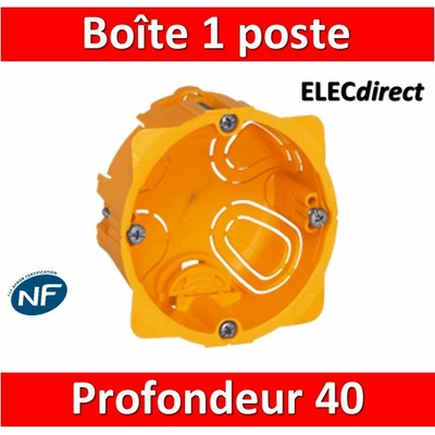 Legrand Batibox - Boîte d'encastrement 1 poste - Prof. 40 - 080041