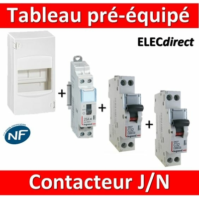Legrand - LOT  - Coffret 4 modules pré-équipé - contacteur J/N + protection 2A + 20A