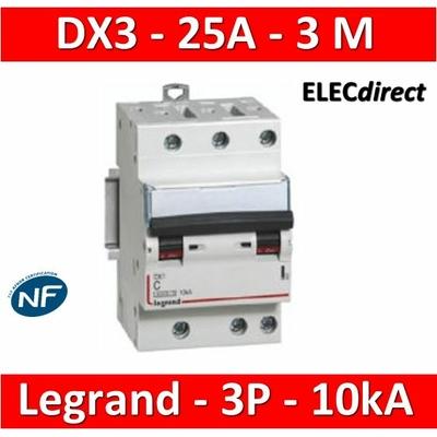 Legrand - Disjoncteur 3P DX3 - 25A - 10kA - courbe C - 407831