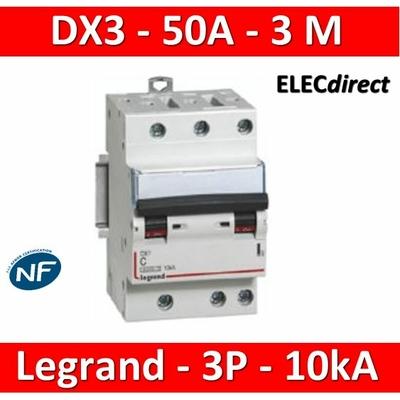 Legrand - Disjoncteur 3P DX3 - 50A - 10kA - courbe C - 407834