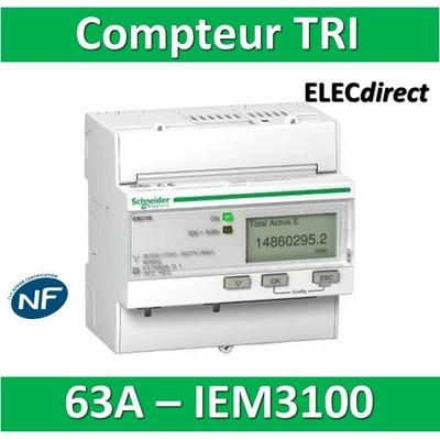 Schneider - Compteur d'énergie - TRI IEM3100 - 63A - SCHA9MEM3100 - Acti 9