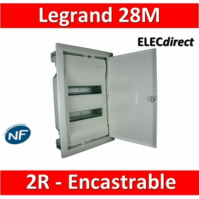 Legrand - Coffret encastrable 24 + 4 modules - 2 rangées de 14M - 001512